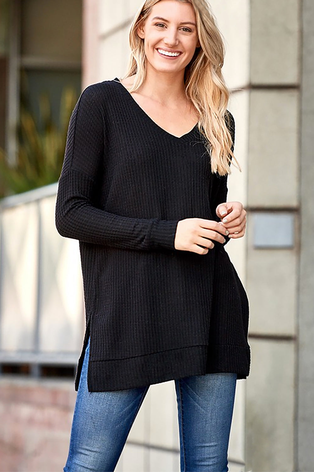BRUSHED THERMAL WAFFLE LONG SLEEVE V-NECK SWEATER  - Black - Shop Tops For Women Now At Kendry Collection Boutique