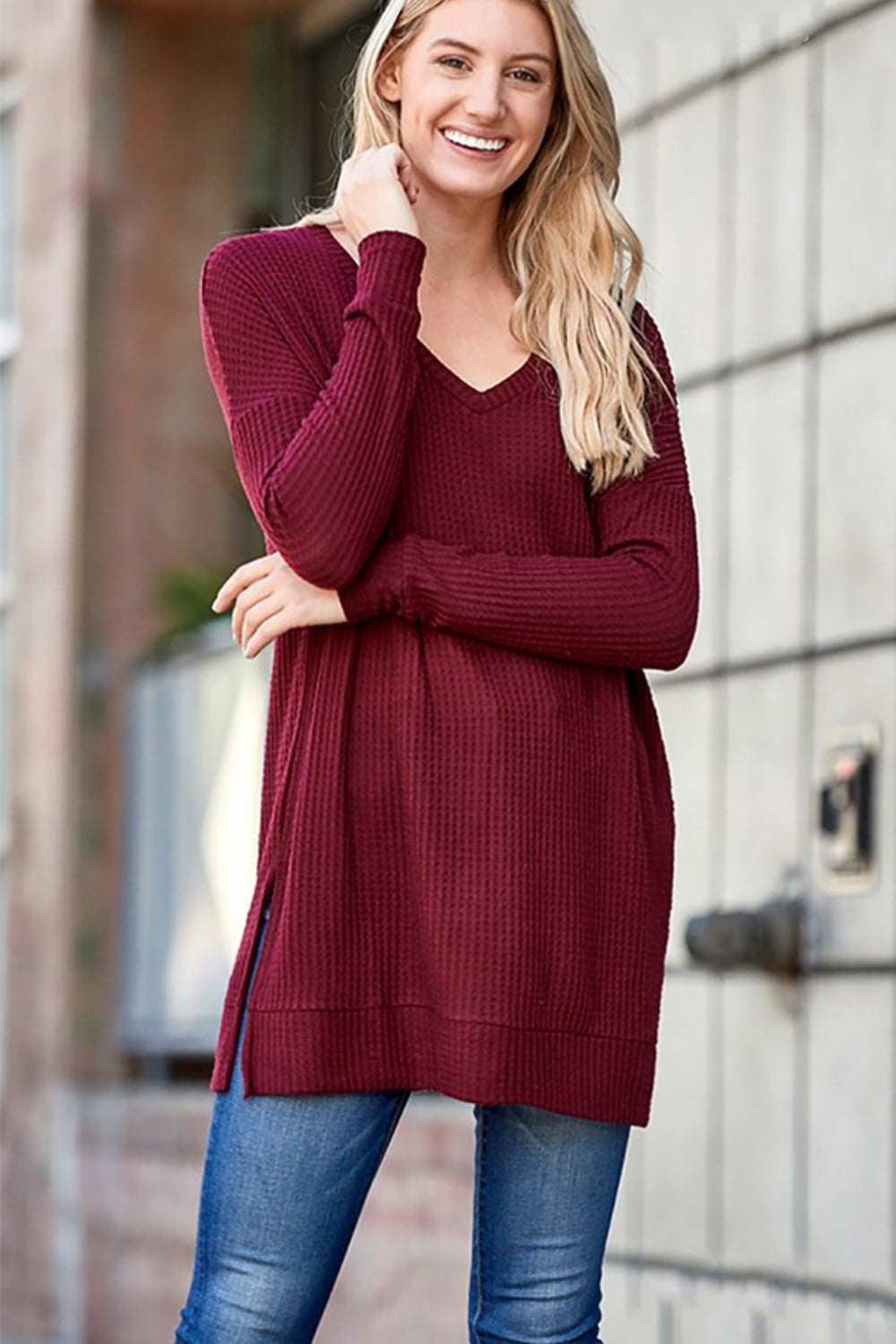 BRUSHED THERMAL WAFFLE LONG SLEEVE V-NECK SWEATER  - Wine - Shop Tops For Women Now At Kendry Collection Boutique