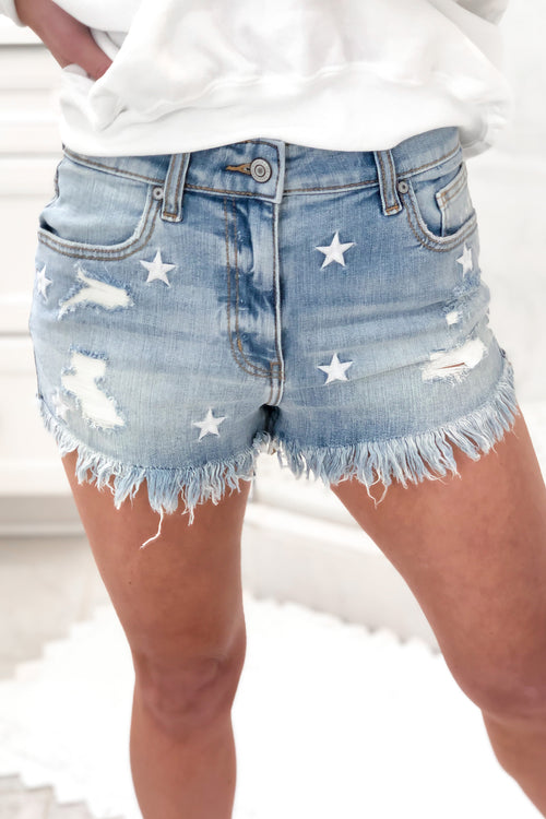 High Rise Star Pattern Denim Shorts - Kendry Collection Boutique