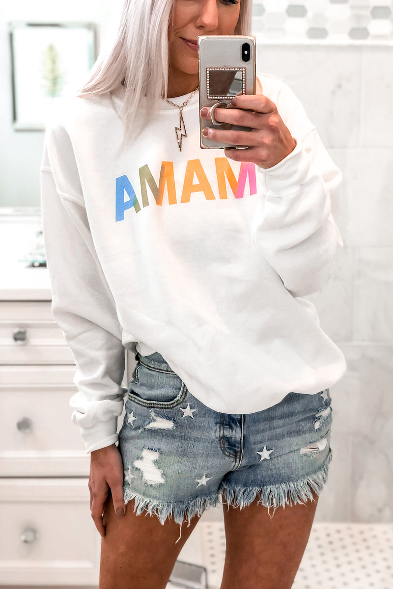 White MAMA Graphic Pullover Sweatshirt Loungewear- Kendry Collection Boutique