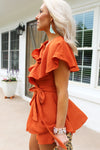 Making Plans Open Back Wrap Romper - Orange - Kendry Collection Boutique - short sleeve ruffle detail open back wrap playsuit, Flutter sleeved open back wrap romper,