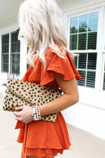 Making Plans Orange Open Back Wrap Romper