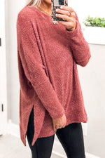 Mauve Fuzzy Eyelash Knit Sweater-Shop Kendry Collection Boutique