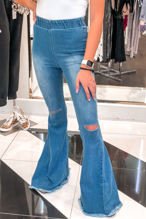 Blue Super Flare Stretchy Denim Jeans - Kendry Collection Boutique