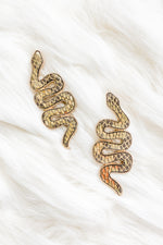 Leather Metallic Serpent Earrings - Kendry Collection Boutique