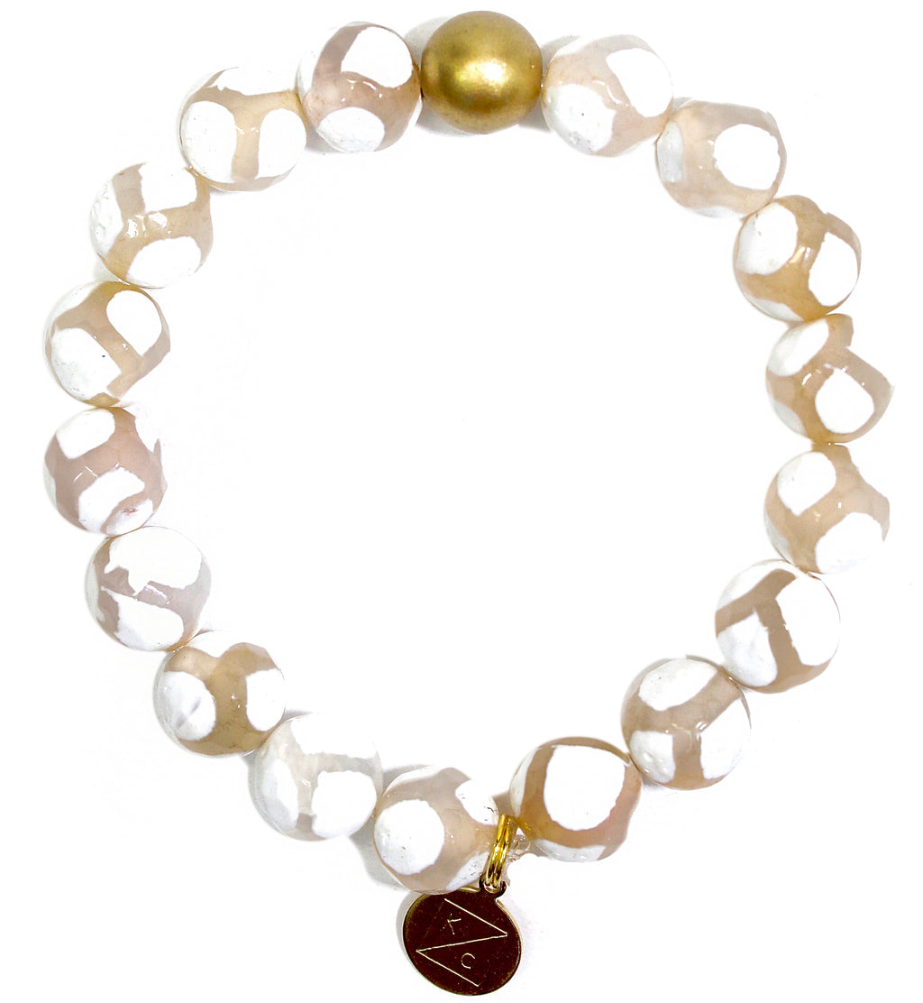 Natural Spotted White Tibetan Agate Faceted Round Gemstone Beaded Stretch Bracelet - Find Cute Handmade Gemstone Jewelry Online Now At Kendry Collection Boutique