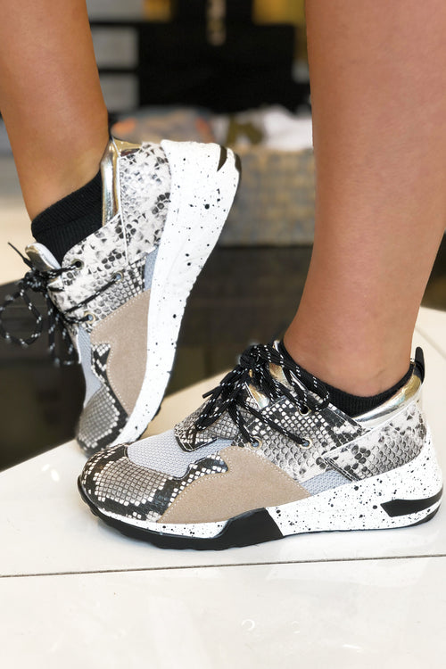 Mixed Snake Skin Sneakers - Kendry Collection Boutique