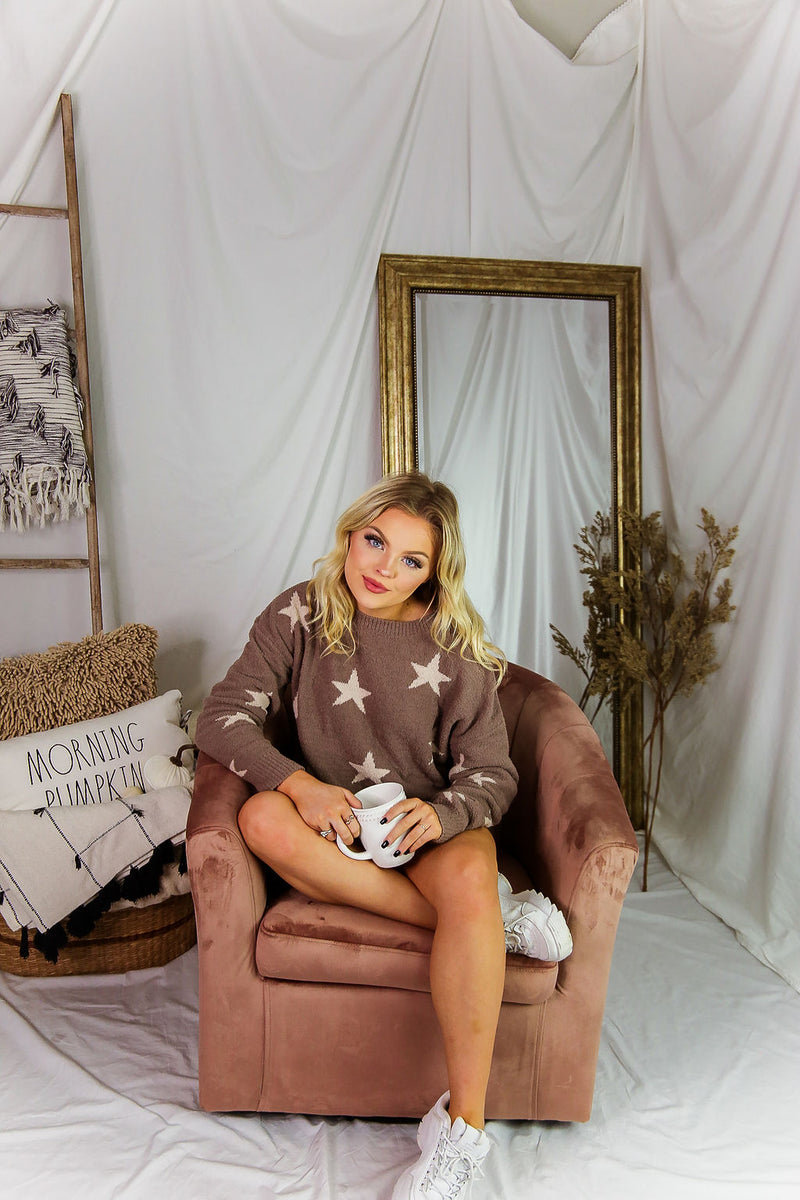 Mocha Star Patterned Pullover Top - Shop Kendry Collection Boutique