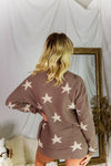 Mocha Star Patterned Pullover Top