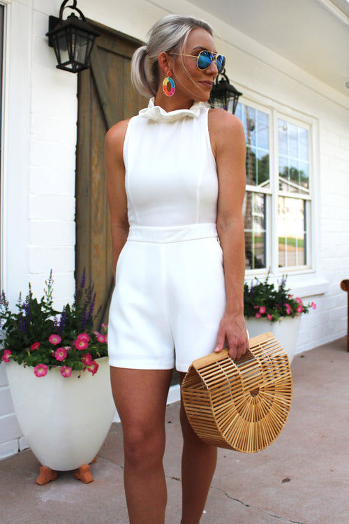 Ruffle Mock Neck Romper - White - Bridal Party Outfit - Kendry Collection Boutique