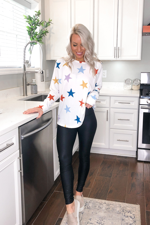Multicolored Star Pullover In White - Kendry Collection Boutique