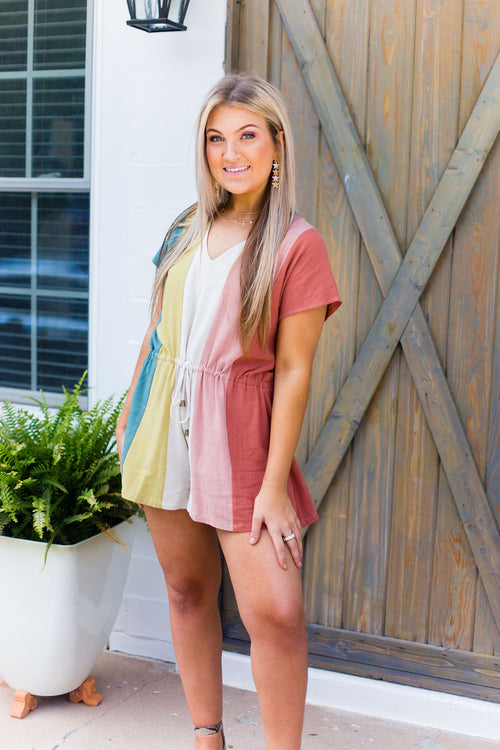 Multicolor Striped Drawstring Romper - Kendry Collection Boutique
