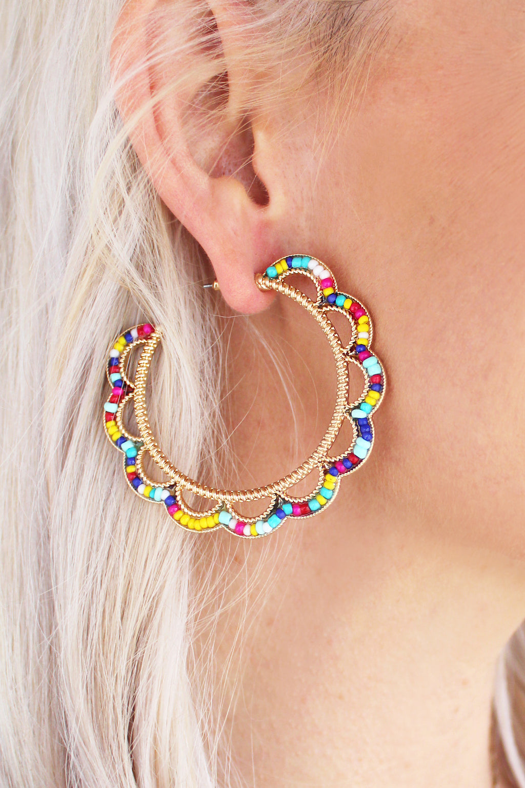 Multicolored Scalloped Hoop Earrings, Colorful Beaded Open Hoop Earrings, Cute Summer Earrings - Shop Trendy & Affordable Accessories Now at Kendry Collection Boutique