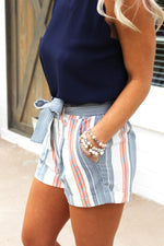 My Time Striped Paper Bag Shorts, Auburn Game Day Outfit, Blue and Orange Striped High Waisted Shorts - Kendry Collection
