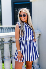 Navy Blue and White Striped One Shoulder Mini Dress - Shop Kendry Collection Boutique