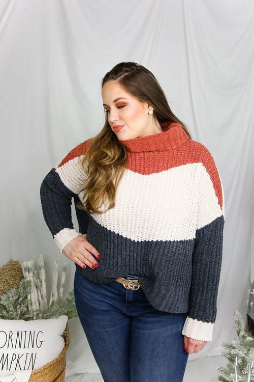 Navy Color Block Turtle Neck Sweater - Shop Kendry Collection Boutique
