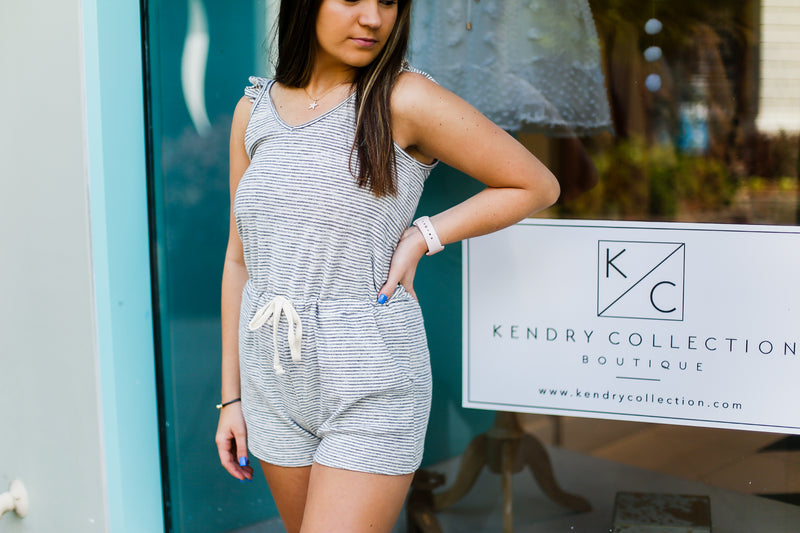 Navy Striped Ruffle Sleeve Romper - Kendry Collection Boutique