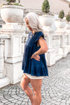 Navy Blue Babydoll Ruffle Tiered Top