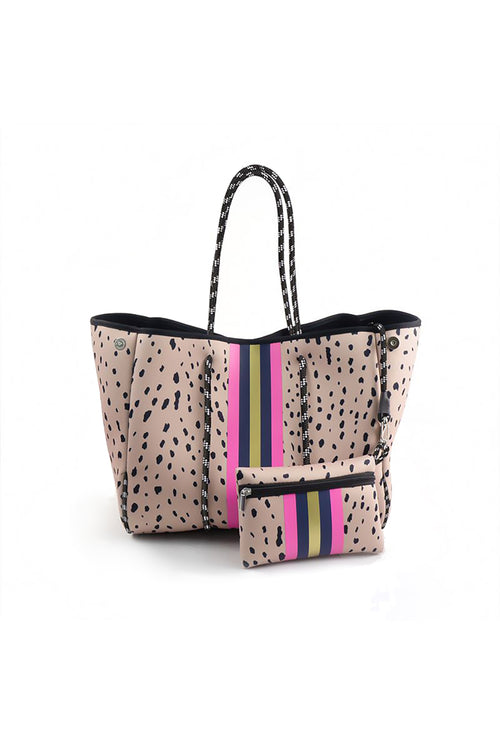 Leopard And Pink Stripe Neoprene Tote Bag - Shop Kendry Collection Boutique