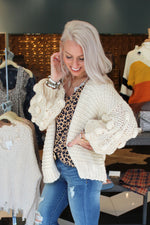 Never Settle Textured Sleeve Knit Cardigan - Off White