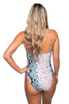 Nicole Snakeskin Square Neck One Piece Swimsuit - Pink