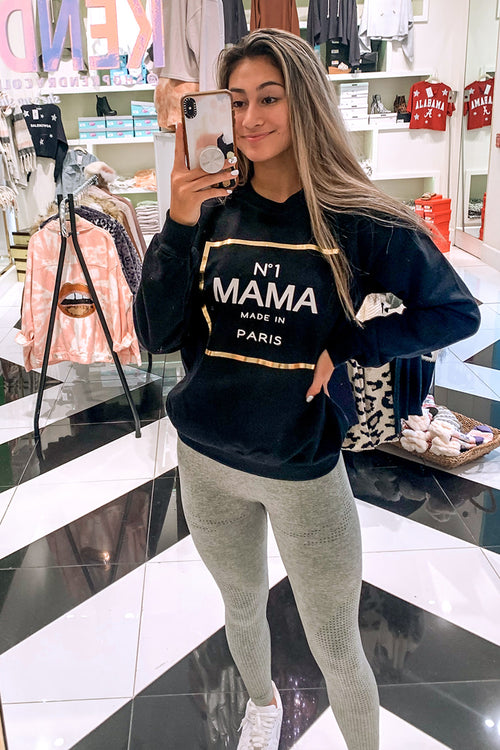 Black # 1 Mama Gold Foil Sweatshirt - Shop Kendry Collection Boutique