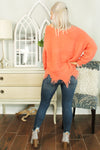 No Turning Back Distressed Sweater - Coral