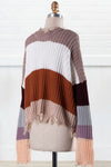 No Turning Back Multi Stripe Distressed Sweater - Rust