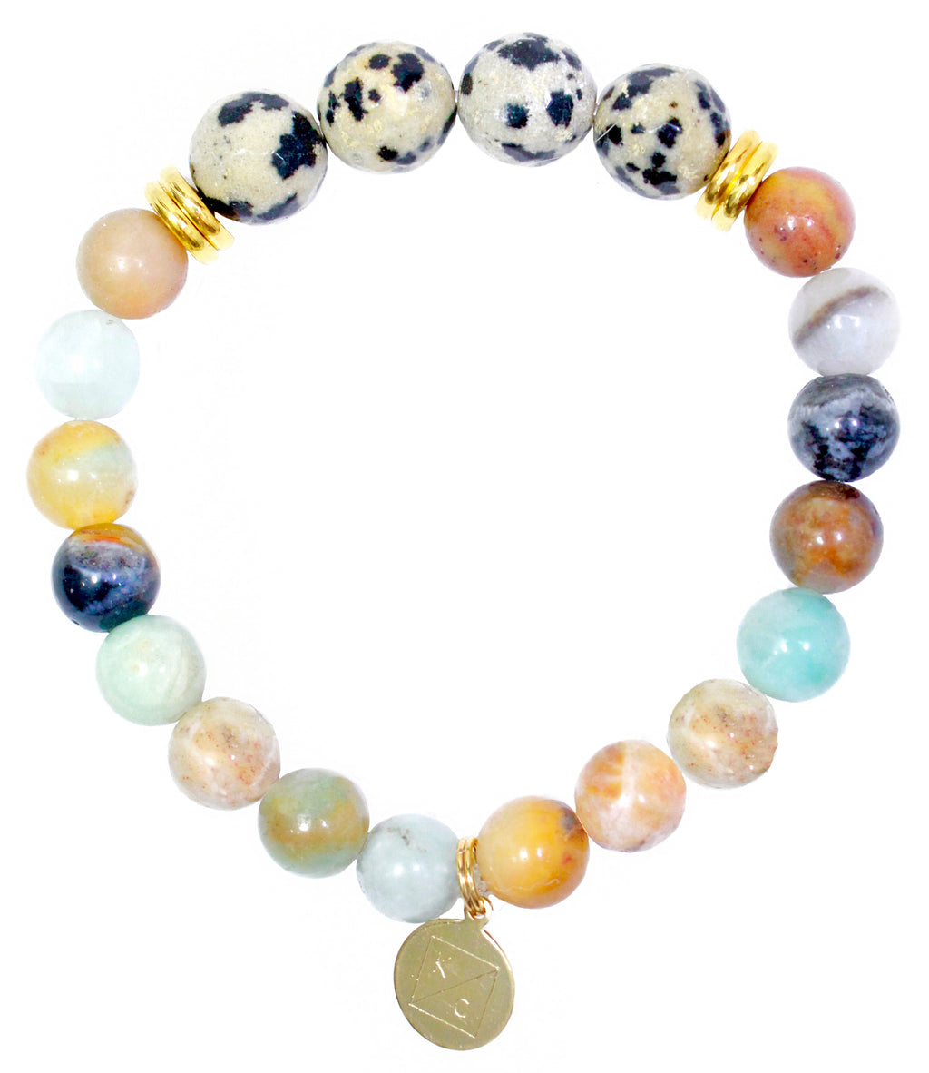 Dalmatian Jasper and Amazonite Gemstone Beaded Stretch Bracelet - Find Cute Handmade Gemstone Jewelry Online Now At Kendry Collection Boutique