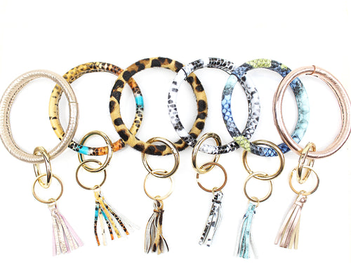 Cute Leather O-Ring Keychains With Tassel - Kendry Collection Boutique
