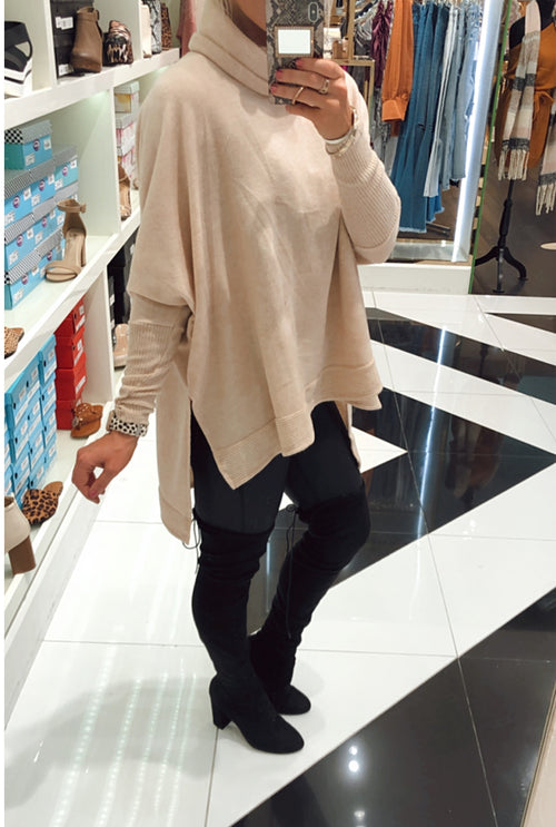 Oatmeal Brushed Knit Cowl Neck Pullover- Kendry Collection Boutique