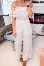 Off White Mixed Polka Dot Jumpsuit - Kendry Collection Boutique