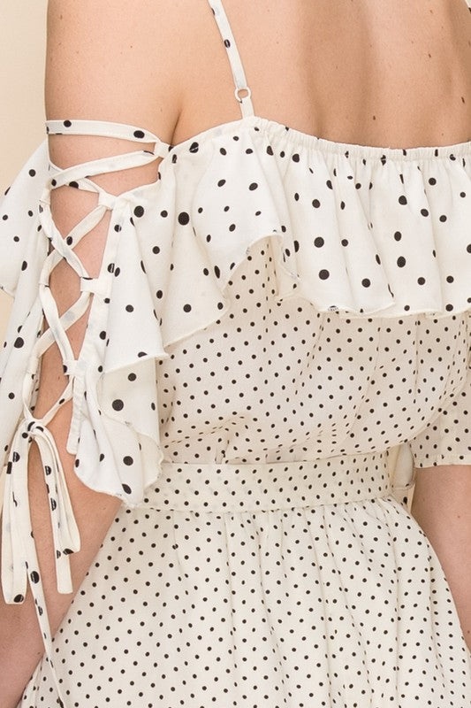 Off White Mixed Polka Dot Jumpsuit