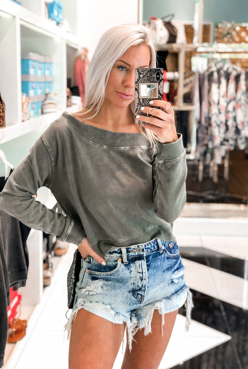 Olive Off The Shoulder Mineral Wash Pullover - Shop Kendry Collection
