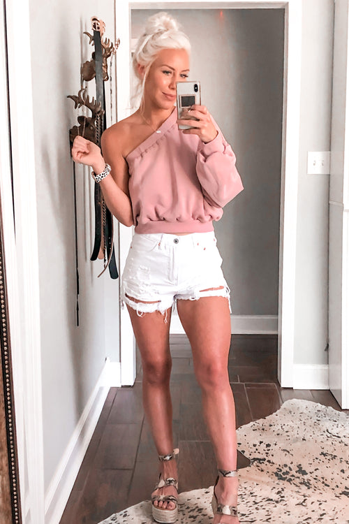 White Distressed High Rise Denim Shorts - Kendry Collection Boutique