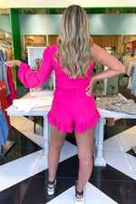 One Shoulder Ruffle Hem Romper - Pink - Kendry Collection Boutique
