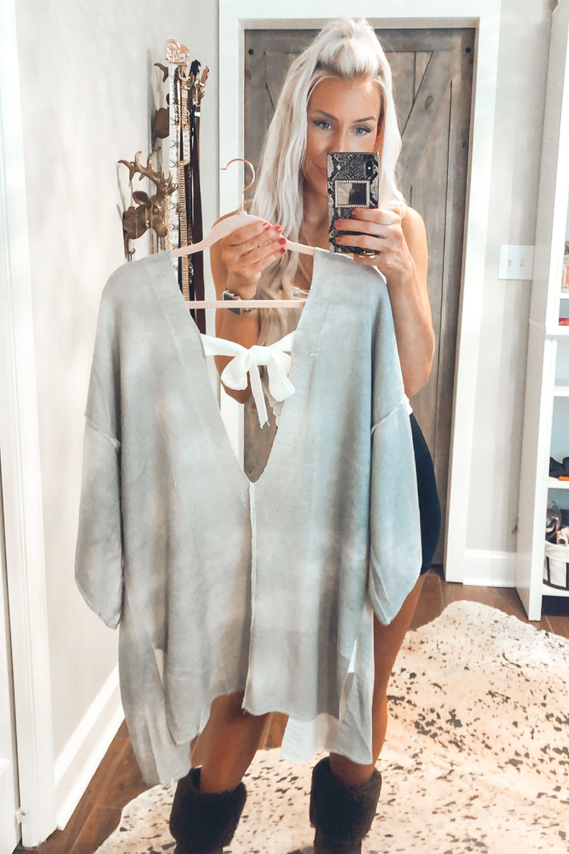 Open Back Grey Knit Cardigan - Kendry Collection Boutique