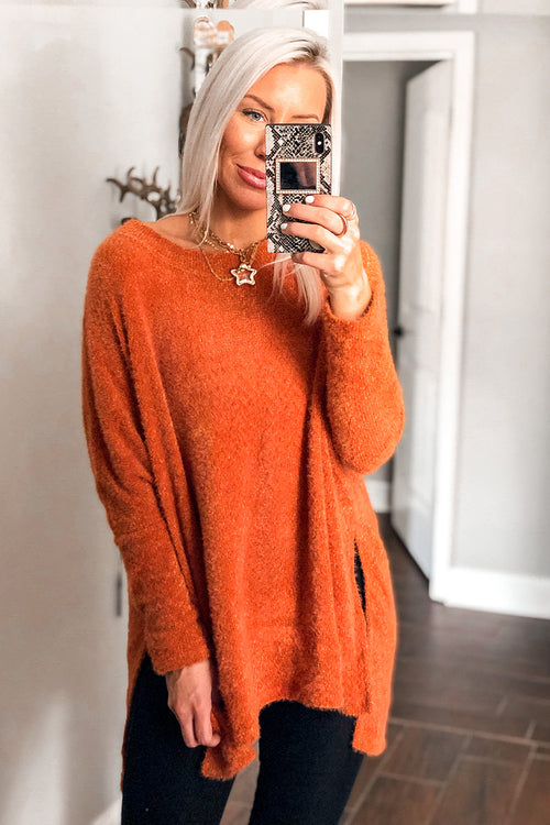 Orange Fuzzy Eyelash Knit Sweater