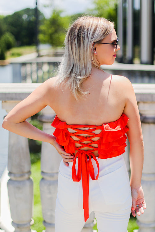 Orange Ruffle Tube Top - Shop Kendry Collection Boutique