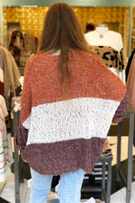 Oversized Confetti Color Blocked Sweater - Rust