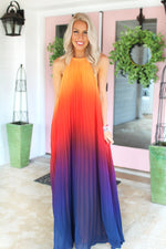Own The Night Backless Ombre Maxi Dress - Red, Open Back Pleated Ombre Maxi Dress - Kendry Collection Boutique