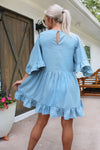 Passion Fruit Baby Blue Ruffle Swing Dress, Cute Blue Ruffle Mini Dress, Light Blue Dress, Rush Dress - Kendry Collection Boutique