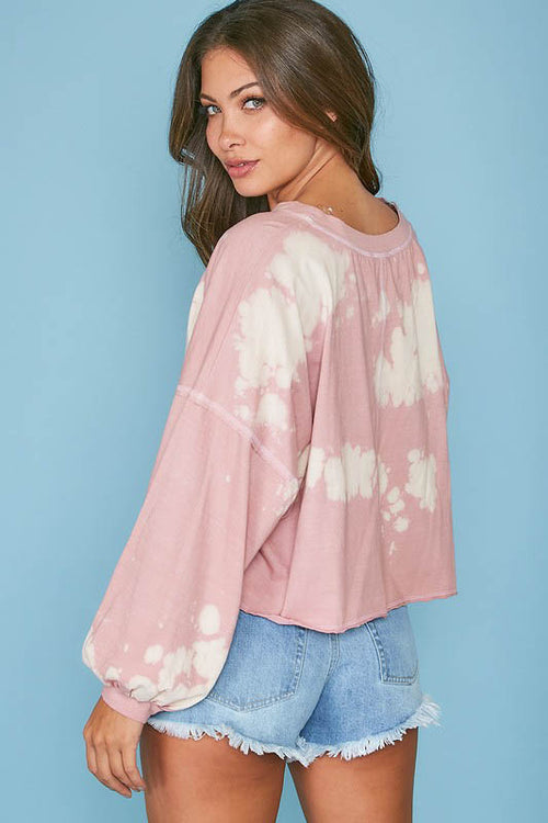 Pink Acid Wash V-Neck Pullover