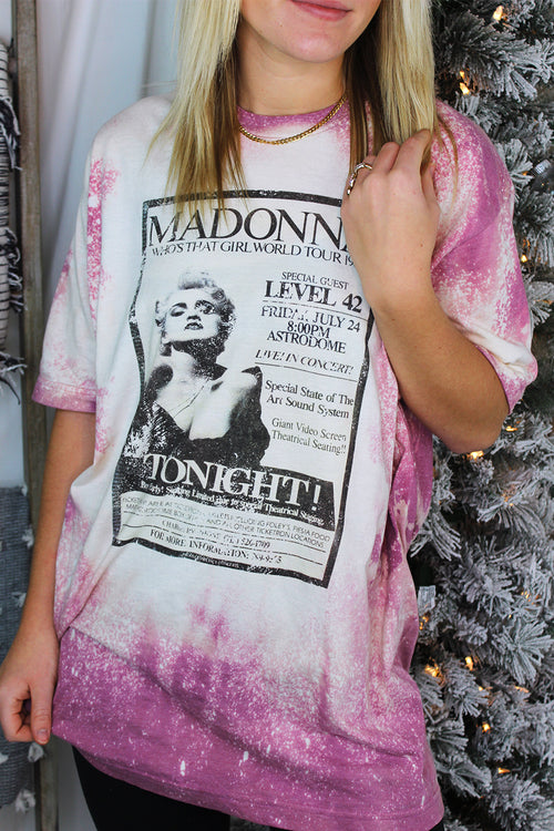 Pink Madonna Bleached Band Tee - Shop Kendry Collection Boutique