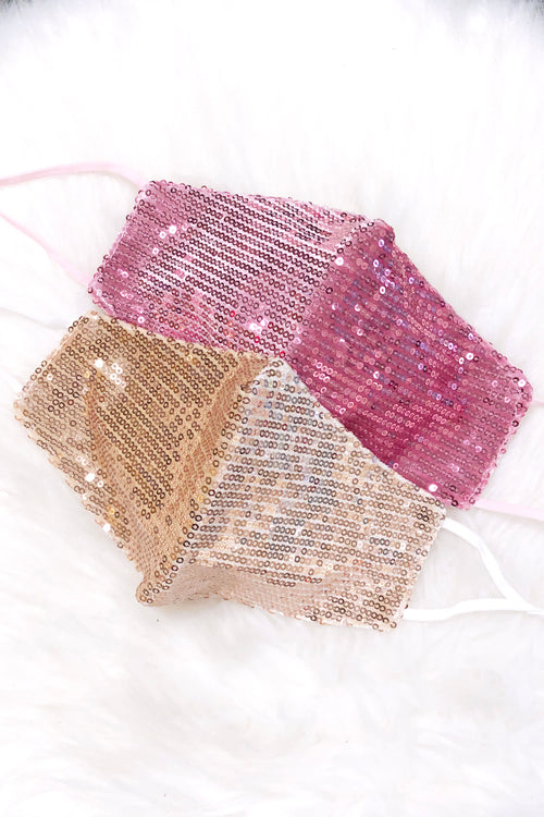 Pink Sequin Face Mask - Shop Cute Sequin Face Masks Online At Kendry Collection Boutique