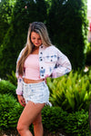 Tie Dye Denim Jacket With Pink Distressing