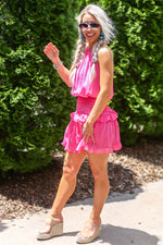 Pink Smocked Waist Mini Dress - Kendry Collection Boutique