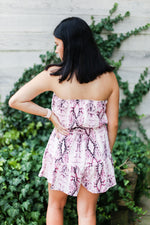 Pink Snake Skin Strapless Romper - Kendry Collection Online Boutique