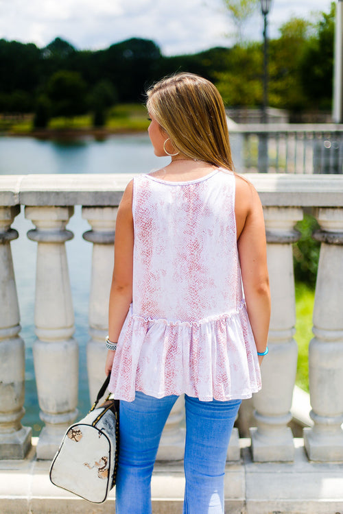 Pink Snake Skin Tank Top - Shop Kendry Collection Boutique Online