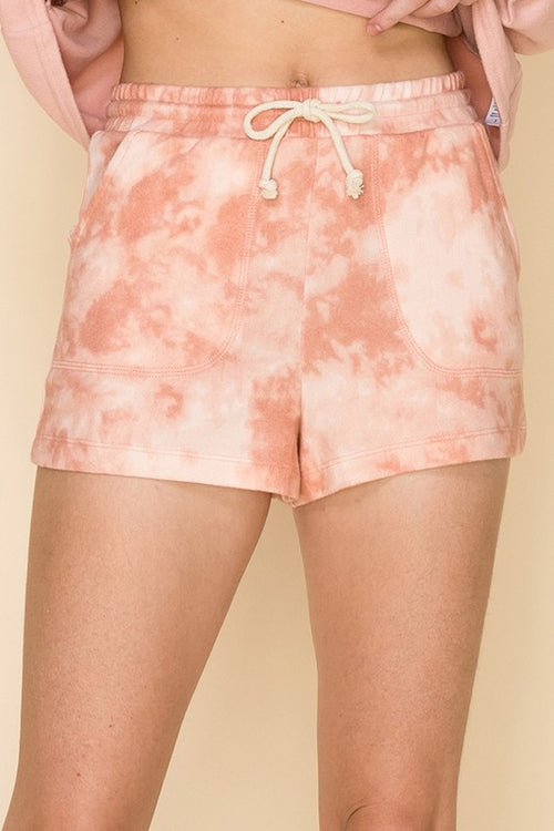 Pink Tie Dye Brushed Knit Lounge Shorts - Shop Kendry Collection Boutique